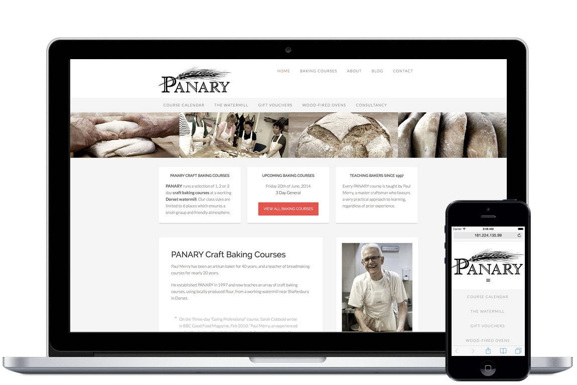 Panary Craft Baking Courses website