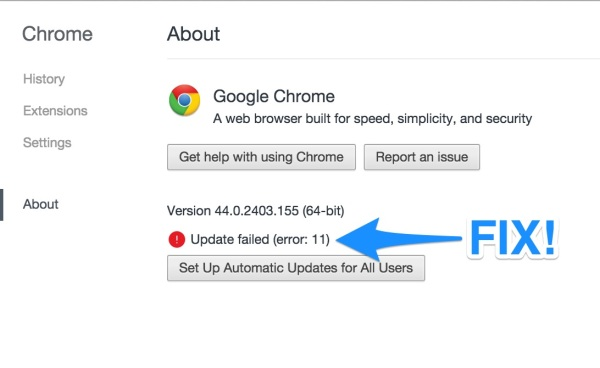 How to fix Google Chrome update error 11